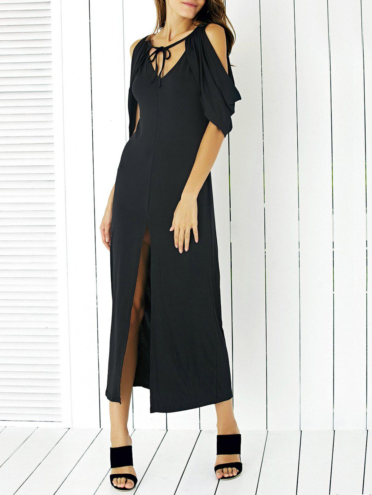 Graceful Self-Tie bowknot Cold Shoulder Dress avant Slit pour les femmes - Noir XL