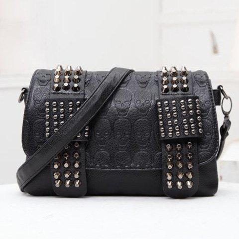 Fashionable Black and Skull Pattern Design Women's Shoulder Bag
