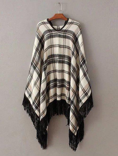 Charming Plaid Fringed Asymmetrical Women's Cape - CHECKED ONE SIZE