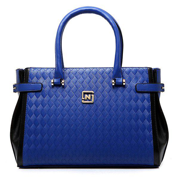 Fashionable Color Block and Woven Pattern Design Women's Tote Bag - BLUE