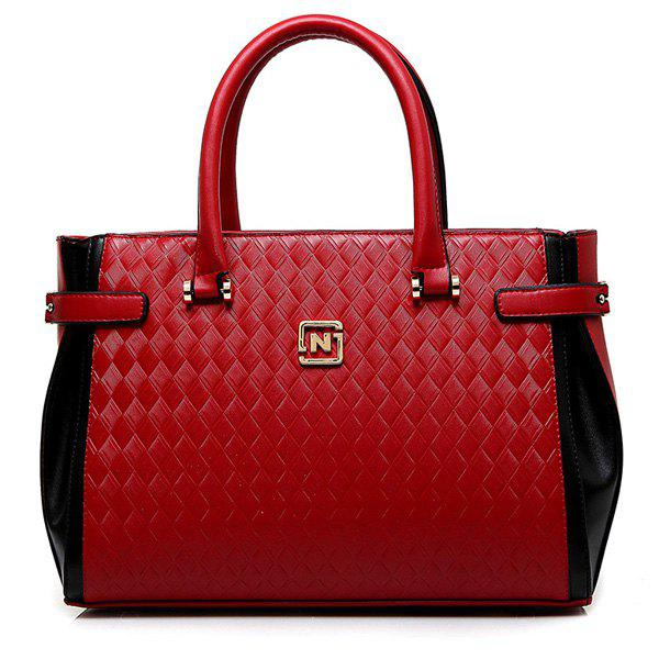 Fashionable Color Block and Woven Pattern Design Women's Tote Bag - RED