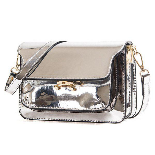 Trendy Solid Colour and Patent Leather Design Women's Crossbody Bag - SILVER