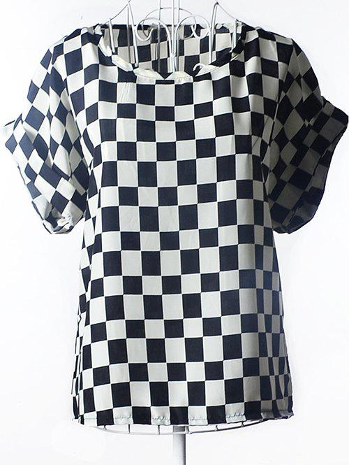 Stylish Plaid Chiffon Loose-Fitting Women's Blouse - CHECKED 2XL