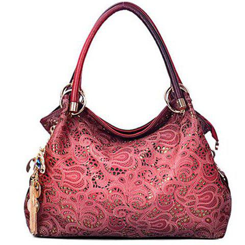 Pandent Metal Shoulder Bag - WINE RED
