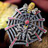Rhinestone Insect Spider Web Etched Brooch - RED