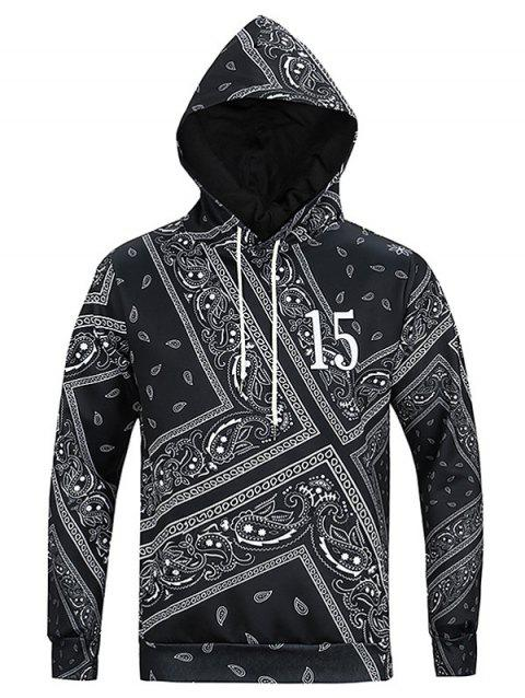 Ethnic Geometric Print Long Sleeves Hoodie For Men - BLACK 3XL
