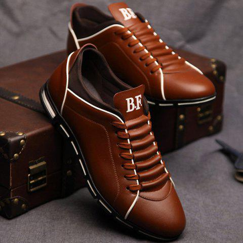 Trendy Splicing and PU Leather Design Men's Casual Shoes - DEEP BROWN 44