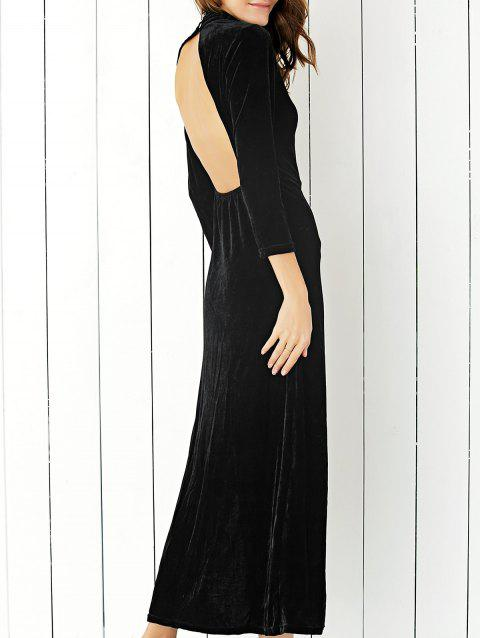 Velvet Slit Open Back Maxi Formal Dress - BLACK M