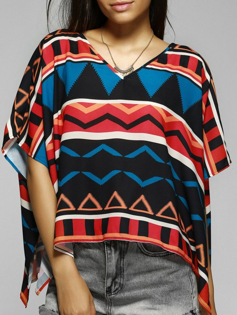 Retro Style Women's Loose-Fitting V-Neck Geometric Print Blouse - COLORMIX M