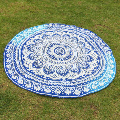 Indian Retro Style Bikini Boho Swimwear Mandala Lotus Flower Pattern Chiffon Round Beach Throw - BLUE ONE SIZE(FIT SIZE XS TO M)