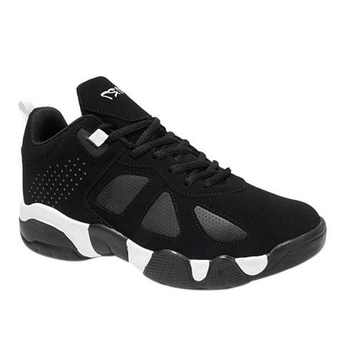 Trendy Lace-Up and Suede Design Men's Athletic Shoes - BLACK 40