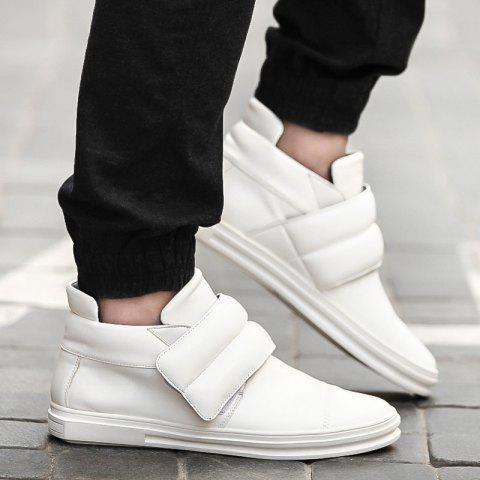 Casual Round Toe and Leather Design Men's Casual Shoes - WHITE 44