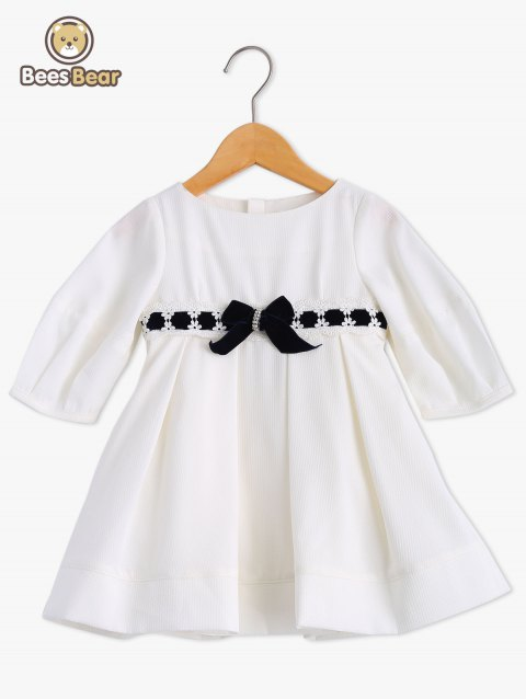 Blanc bowknot Embellish dentelle Splice robe - Blanc CHILD-8