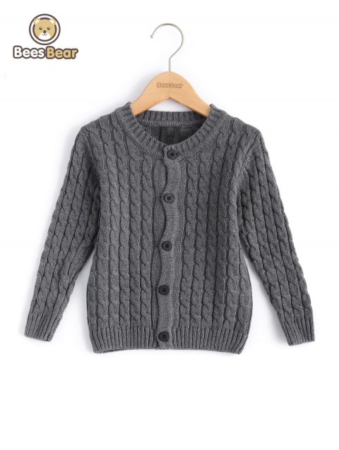Kids Solid Color Single-Breasted Knitted Cardigan - GRAY CHILD-6