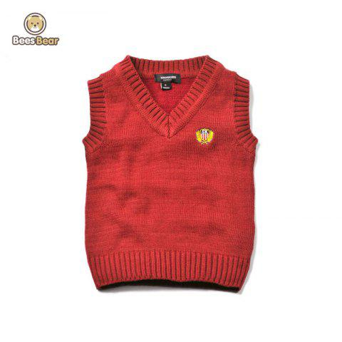 Solid Color V Neck Pullover Knitted Waistcoat - RED CHILD-4