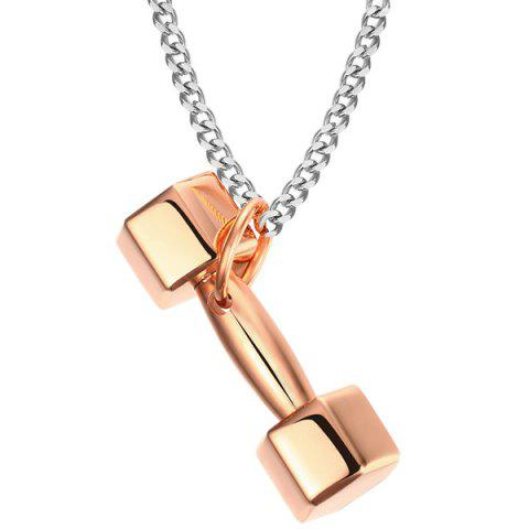 Gold Plated Dumbbell Pendant - ROSE GOLD