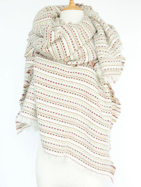 Stylish Small Plaid and Stripe Design Fringed Pashmina - WHITE