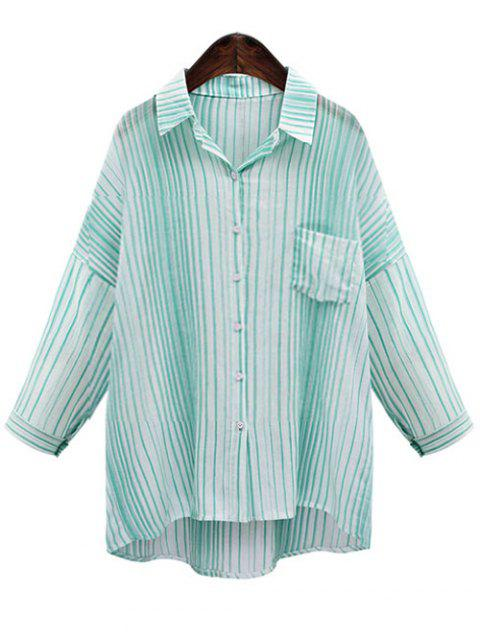 Casual Loose Fitting Striped Shirt For Women - GREEN L