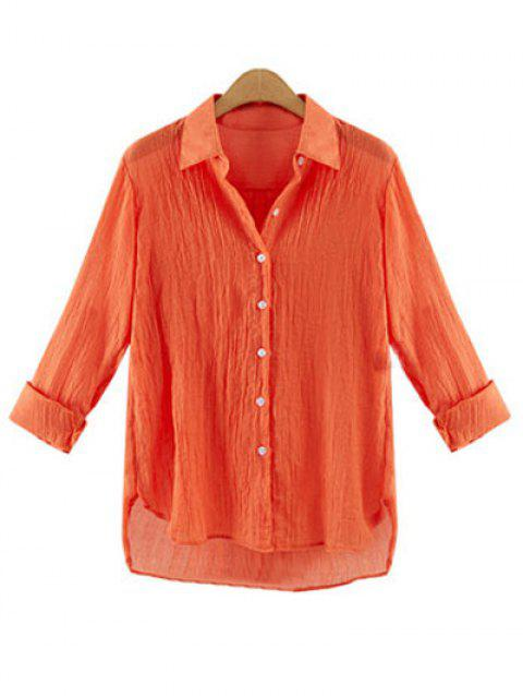Gauzy Pure Color High Low Shirt For Women - DARKSALMON XL