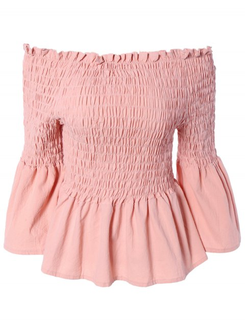 Ladylike Solid Color Ruffles Bell Sleeves Blouse - LIGHT PINK ONE SIZE(FIT SIZE XS TO M)