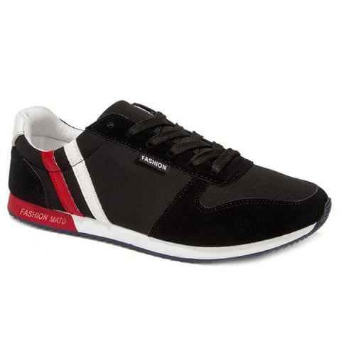 Leisure Tie Up and Splicing Design Men's Athletic Shoes - BLACK 40