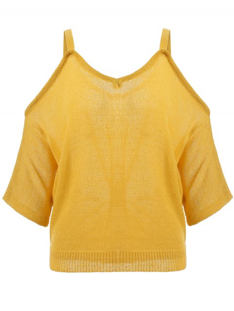 Fashion Spaghetti Strap Open Shoulder Cropped Knitted Blouse - GINGER ONE SIZE