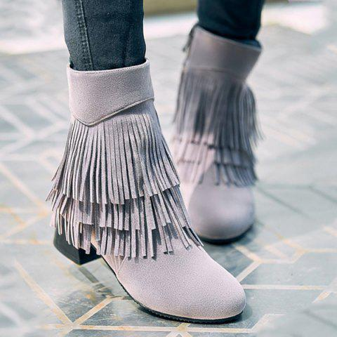 Stylish Layer Fringe and Chunky Heel Design Women's Boots - LIGHT GRAY 37