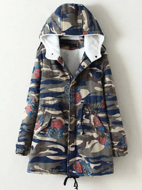 Oversized Casual Camouflage Hooded Cotton Padded Coat - CAMOUFLAGE 2XL