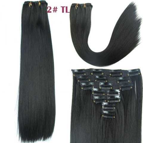 Women's Long Straight Clip-In Synthetic Stylish Hair Extension - BLACK