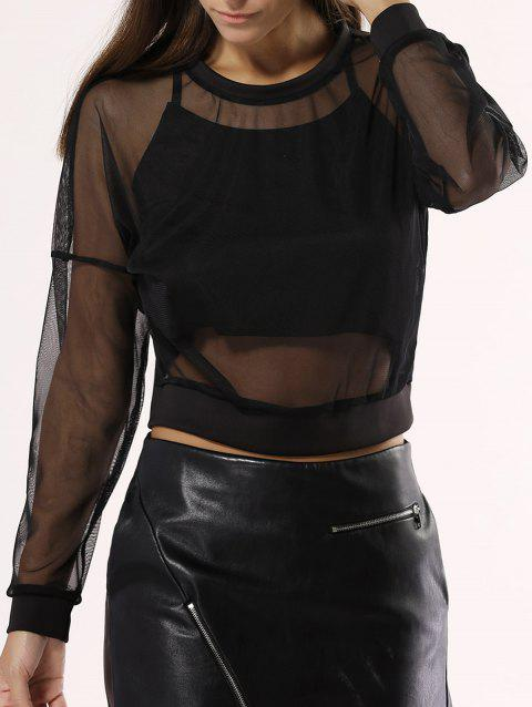 See-Through Mesh Blouse For Women - BLACK L