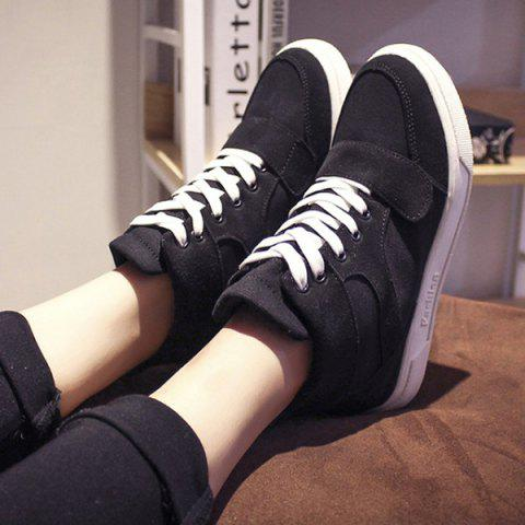 Casual Lace-Up and Suede Design Women's Athletic Shoes - BLACK 38