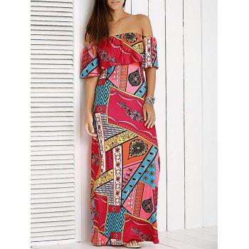 Glamour Off The Shoulder Patchwork Printed Dress For Women