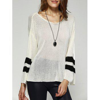 Chic Scoop Neck Loose Striped Sleeve High Low Knitwear For Women