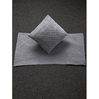 Buy Stylish Home Decor Warm Comfortable Rhombus Knitted Pillow Case Blanket GRAY