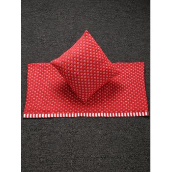 Buy Stylish Home Decor Warm Comfortable Christmas Red Mesh Knitted Pillow Case Blanket RED
