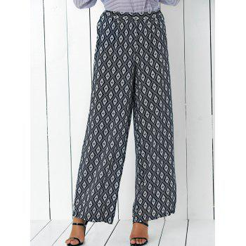 Ethic Plaid Print High Waist Wide Leg Pants
