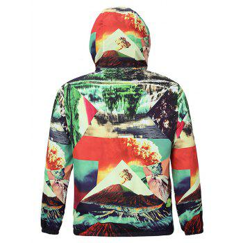 Fashion 3D Scenery Print Hooded Long Sleeves Jacket For Men - COLORMIX 2XL