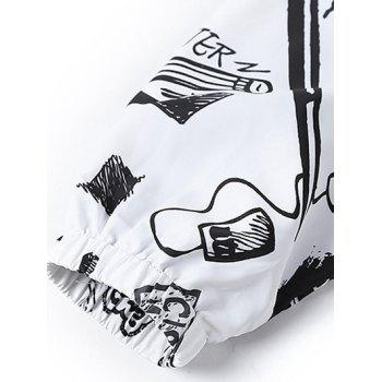 Cute Doodle Print Hooded Long Sleeves Jacket For Men - WHITE 2XL