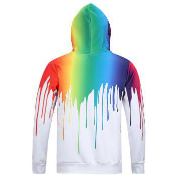 New Look Paint Splash Print Long Sleeves Hoodie For Men - WHITE 2XL