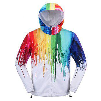 Different Color Paint Dripping Zip Up Men's Hooded Jacket