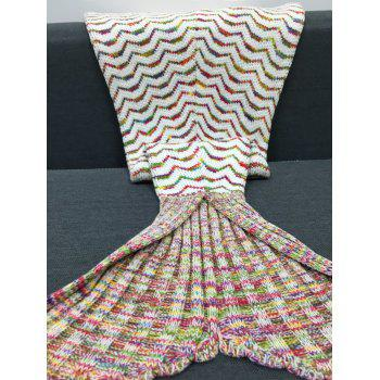 Chic Quality Colorful Curves Pattern Knitting Mermaid Shape Blanket - COLORMIX