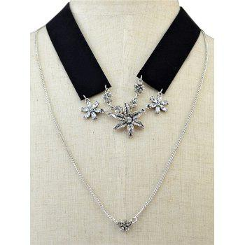 Black Band Rhinestone Flower Layered Necklace