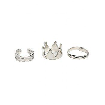 Crown Gold Plated Ring Set