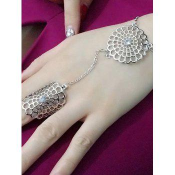 Rhinestone Filigree Flower Ring