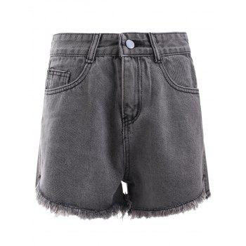 Simple Pocket Fringe Denim Shorts