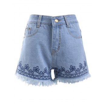 Simple Embroidered Trim Pocket Fringe Denim Shorts