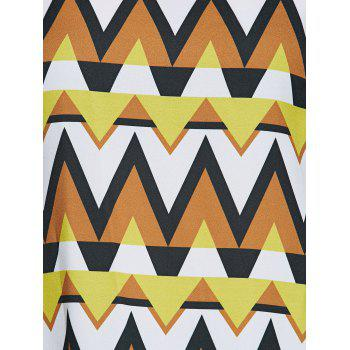 Plus Size Tribal Print Side Slit Blouse - WHITE / BLACK / YELLOW 5XL