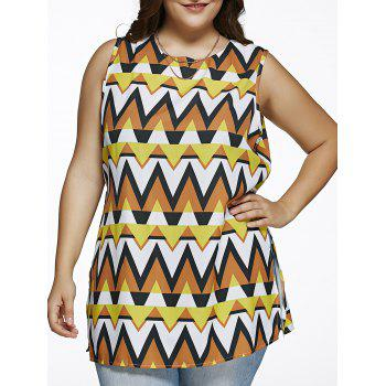 Plus Size Tribal Print Side Slit Blouse