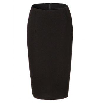 OL High Waist Pure Color Bodycon Skirt For Women