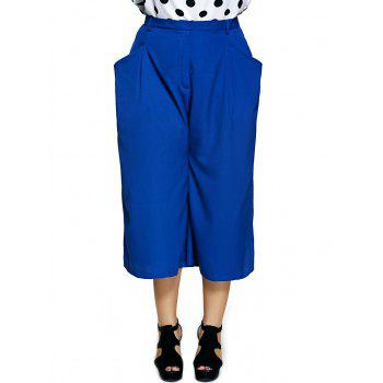 Plus Size Pockets Design Capri Dressy Palazzo Pants